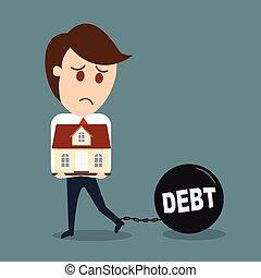 concept, business, maison, vecteur, dette, prise, homme