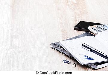 concept, business, mobile, calculatrice, téléphone, ordre du jour