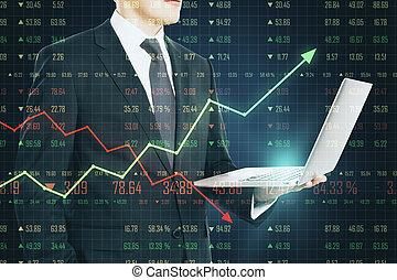 concept, business, ordinateur portable, diagramme, screen., commerce, homme affaires, utilisation