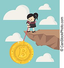 Concept business pile of coins vector illustration, Pulling,, cartoon