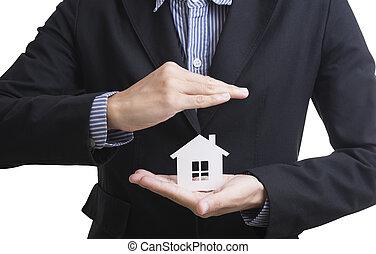 concept, business, possession main, insurance., maison, vendeur