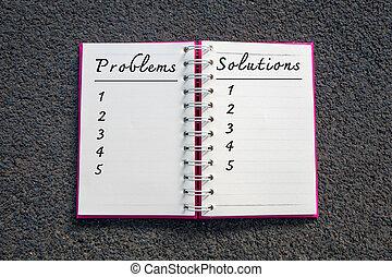 concept., business, problème, solution, problèmes, notebook., liste, solutions, blanc