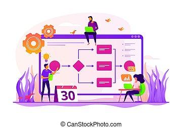concept, business, processus, illustration, vecteur, gestion
