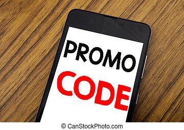 concept, business, promo, mot, space., écriture, téléphone, écrit, code., mobile, fond, ligne, bois, écriture, copie, promotion, cellphone