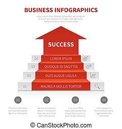 concept, business, reussite, infographic, escalier, moderne, niveaux, échelle, vecteur, enjôleur