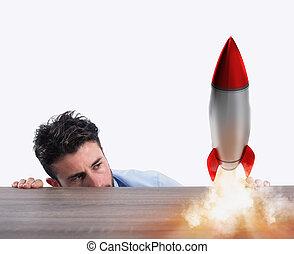 concept, business, rocket., compagnie, démarrage, nouveau, commencer
