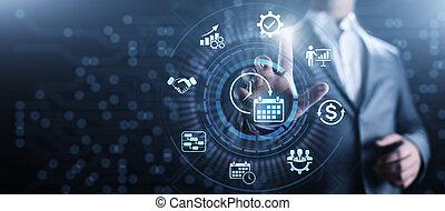 concept, business, screen., planification projet, administration du temps