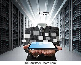concept, business, serveur, invisible, données, homme