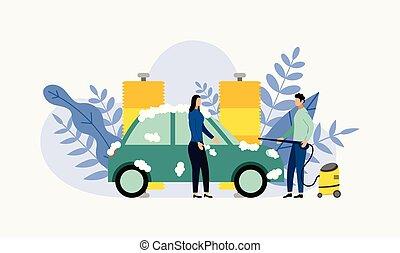 concept, business, service, voiture, illustration, laver, nettoyage, vecteur, auto