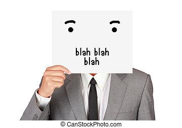 Concept business show paper say blah