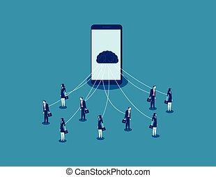 concept, business, smartphone., marionnette, illustration., vecteur, technologie