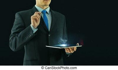 concept, business, tablette, icônes, choix, virtuel, verre, gestion, noir, humain, interface, tampon, pointage, hologramme, ressources, homme