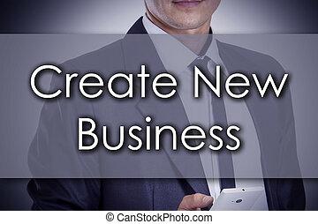 concept, business, texte, créer, -, jeune, nouveau, homme affaires