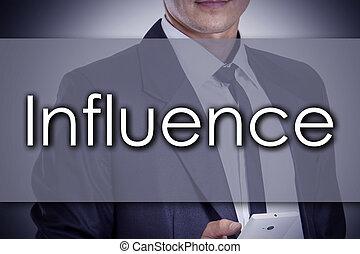concept, business, texte, influence, -, jeune, homme affaires