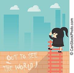 concept, business, voir, femme, mondiale, dessin animé, dehors
