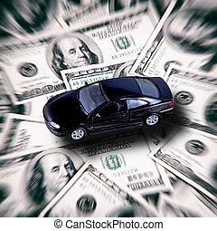 concept, business, voiture, -, fond, argent