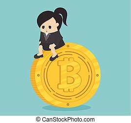 concept business woman for financial crisis. depressed business coin.