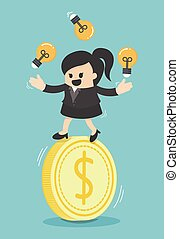 Concept business woman play acrobatic bulbs on money