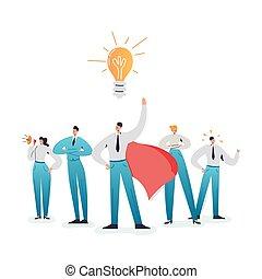 concept, business, work., caractère, direction, équipe