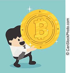 Concept businessman carrying huge Bitcoins