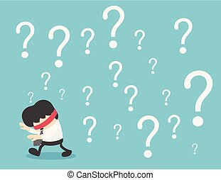 Concept businessman confused with question mark on background