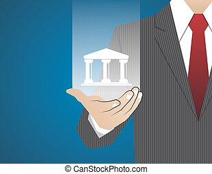 Concept Businessman in his hands ,banking