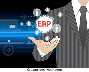 Concept Businessman in his hands ,ERP (or Enterprise...