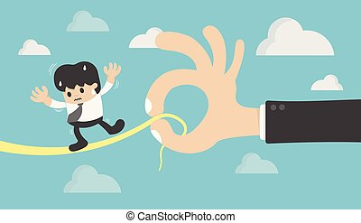 Concept Businessman on a Wire. Risk Management Defined Being and death by boss