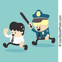 Concept businessman running away, police
