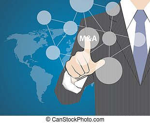 Concept Businessman Touching on Touch Screen, acquisition strategy, vector