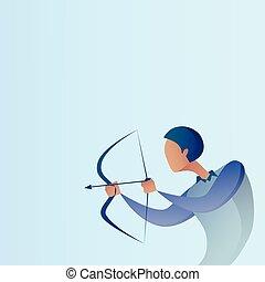 concept, but, business, obtenir, arc, but, archer, prise, homme