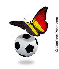 Concept - butterfly with Belgian flag flying near the ball, ...