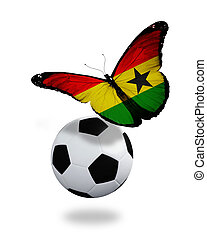 Concept - butterfly with Ghana flag flying near the ball, like football team playing