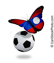Concept - butterfly with Laotian flag flying near the ball, like football team playing