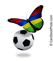 Concept - butterfly with Mauritius flag flying near the ball, like football team playing