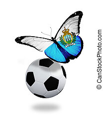 Concept - butterfly with San Marino flag flying near the ...