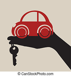 hand with a red little car on light brown background