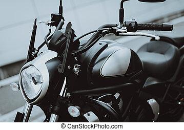 concept., câmera, pretas, motocicleta, frente, vista., velocidade
