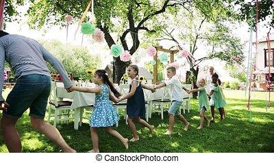 concept., célébration, gosses, fête, jouer, jardin, dehors,...