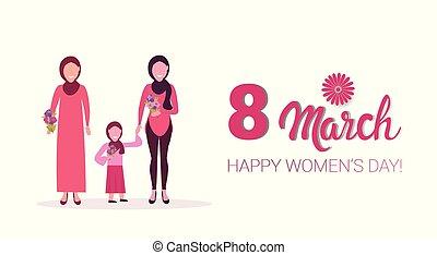 concept, célébrer, femme, hijab, trois, tenue, 8, entiers, mars, musulman, arabe, caractères, international, horizontal, fleurs, jour, carte, femmes, salutation, illustratio, longueur, vecteur, générations