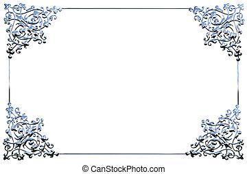 concept, cadre, chrome, sur, métal, fond, floral, blanc, ...