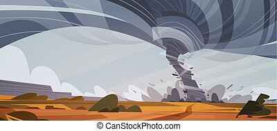 concept, calamité naturelle, tornade, ouragan, champ, orage, campagne, waterspout, twister, paysage
