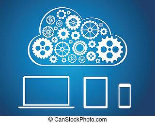 concept, calculer, -, appareils, conception, connecté, nuage
