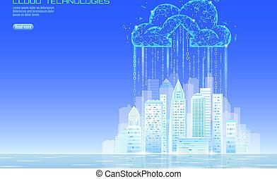 concept, calculer, cityscape., nuage, ville, bannière, stockage, avenir, ligne, intelligent, intelligent, 3d, urbain, business, échange, grand, illustration, données, bâtiment, technology., lumière, vecteur, futuriste