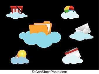 concept, calculer, isolé, ensemble, nuage noir, icône