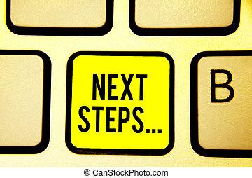 concept, calculer, processus, texte, jaune, une, clavier ordinateur, créer, suivant, courant, intention, aller, être, après, signification, clã©, numper, fait, reflet, planification, étapes, écriture, document.