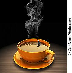 .concept, caliente, aleta, café, tiburón