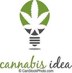 concept, cannabis., idée, illustration, vecteur, ampoule