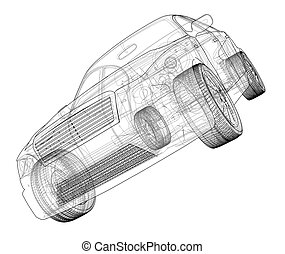 Concept car. 3d illustration