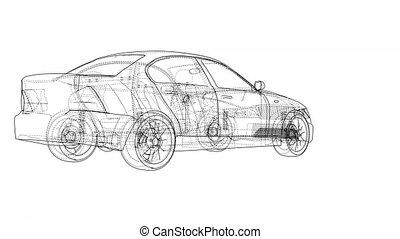 Concept car blueprint style video